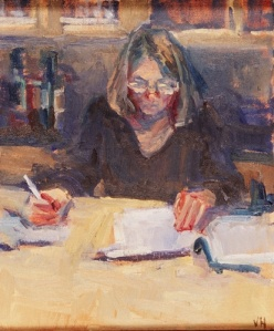 woman-writing-oil-on-linen-by-valerie-hardy